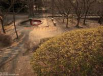 夕方の噴水