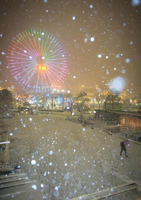 雪の横浜みなとみらい