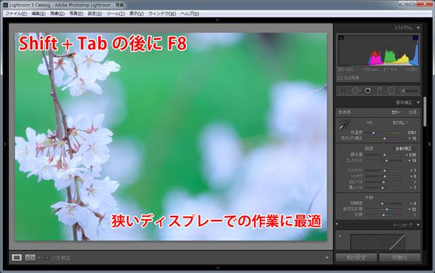 現像用の画面