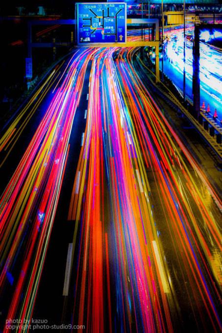 車の光跡 比較明合成