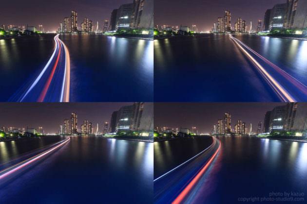 隅田川の屋形船 光跡 比較明合成 佃島