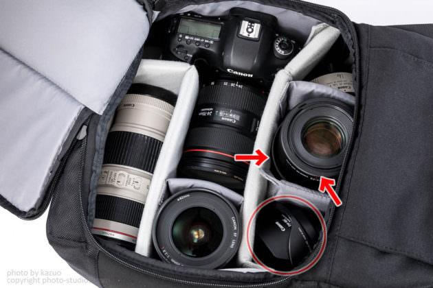 studio9オリジナルカメラバッグ Endurance 機材収納例