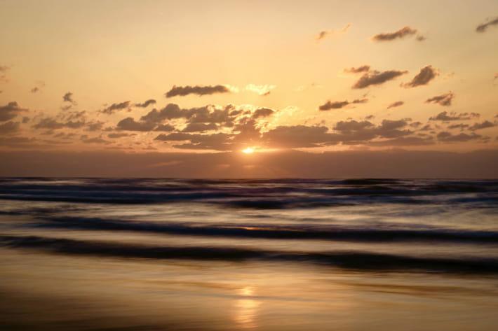 千里浜夕陽スローシャッター